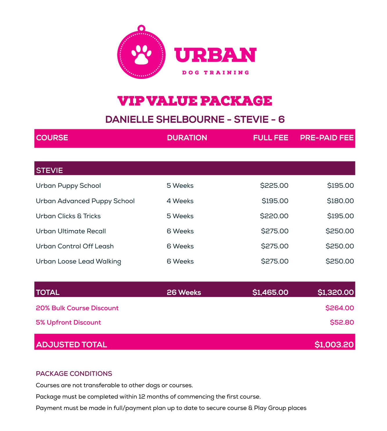 VIP Value Package Example Puppy